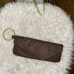 Mudpie brown clutch wristlet gold bangle